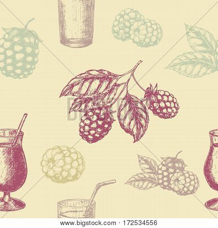 Raspberry blackberry and milkshakes seamless pettern. Vector illustration
