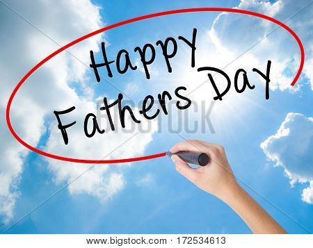 Woman Hand Writing Happy Fathers Day With Black Marker On Visual Screen