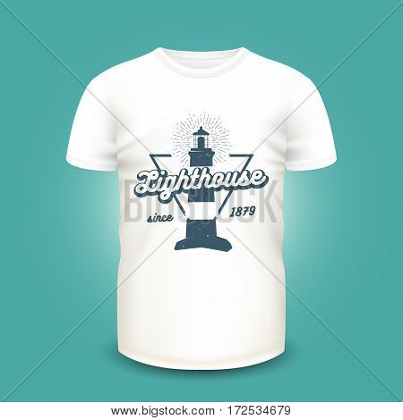 Retro nautical label with lighthouse and sunburst on t-shirt template. Vector illustration. Realistic mockup and marine print used for advertising emblem on textile goods, banner or poster design.