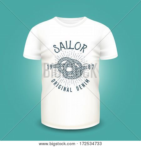 T-shirt mockup with marine knot print, sunburst and lettering. Vector illustration. Realistic mockup and nautical label used for advertising emblem on textile goods, banner or poster design.