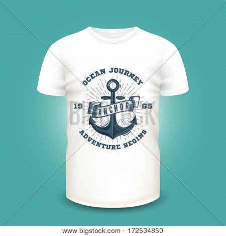 Retro nautical label with anchor and sunburst on t-shirt template. Vector illustration. Realistic mockup and marine print used for advertising emblem on textile goods, banner or poster design.