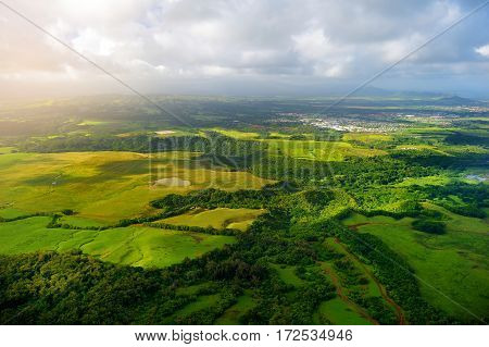 Beautiful View Of Spectacular Jungles, Field And Meadows Of Kauai Island Near Lihue Town