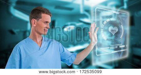 Male nurse touching invisible screen against empty operation room 3d
