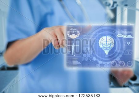 Midsection of female doctor gesturing with fingers against medical biology interface in blue 3d