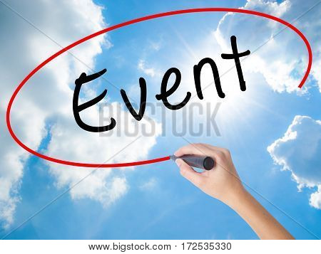 Woman Hand Writing Event With Black Marker On Visual Screen
