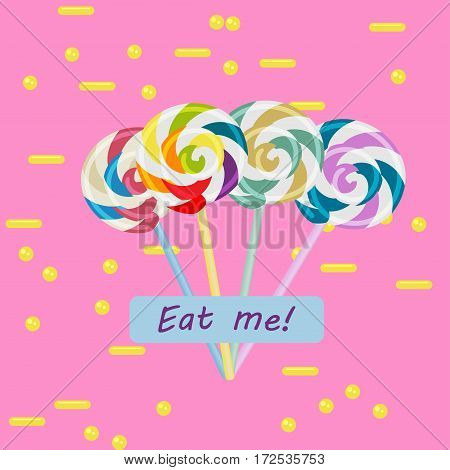 Colorful swirl lollipops on pink background with yellow elements and eat me text.