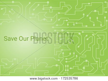Green circuit board with little leaves abstract background