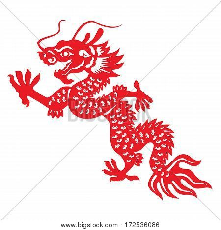Red paper cut Dragon china vector design