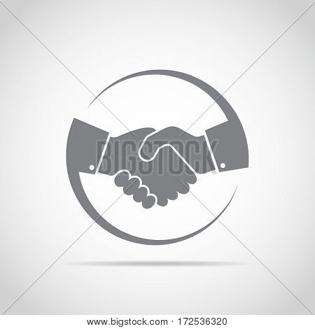 Abstract gray handshake icon. Handshake sign in the circle on light background. Vector illustration.