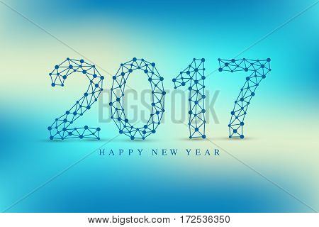 Text design Christmas and Happy new year 2017. Graphic background molecule and communication. Connected lines with dots. Lines plexus. Scientific cybernetic vector illustration