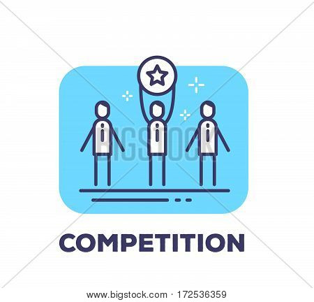Vector Business Illustration Of Men Holding A Medal With The Star Sign Of Winning The Competition On