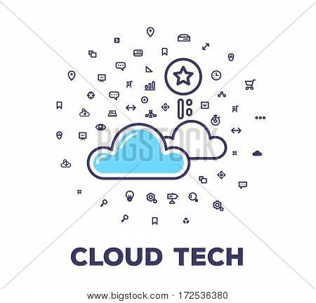 Vector business illustration of cloud technology on white background with icon cloud. Innovation creative linear concept. Flat line art style design for web site banner poster board