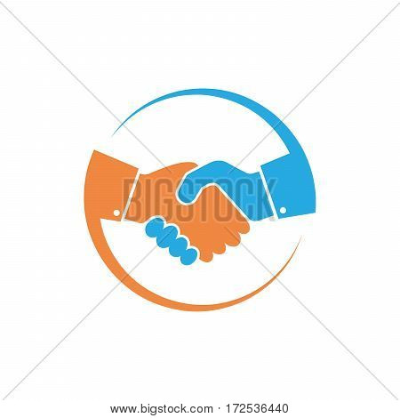 Abstract colored handshake icon. Handshake sign in the circle on white background. Vector illustration.