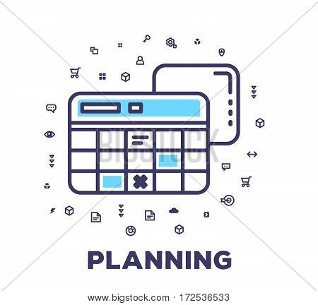 Vector Business Illustration Of A Calendar On White Background With Icon Cloud.
