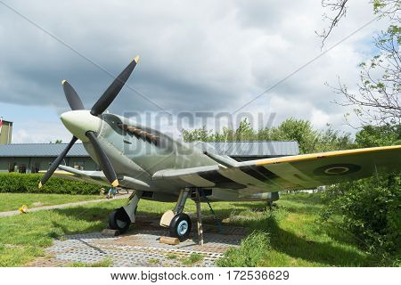 LELYSTAD NETHERLANDS - MAY 15 2016: Replica of a supermarine spitfire at the Aviodrome aerospace museum