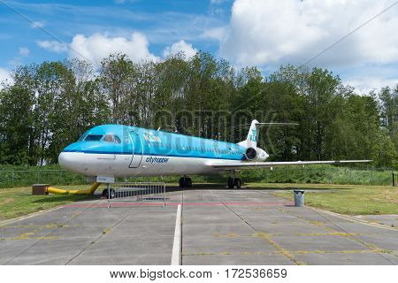 LELYSTAD NETHERLANDS - MAY 15 2016: Fokker 100 at Aviodrome aerospace museum. It was the largest jet airliner built by Fokker before its bankruptcy in 1996.