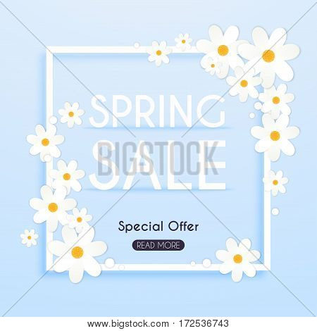 Sale Banner with flowers Poster Flyer. Vector illustration.