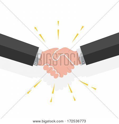 Colored handshake on white background. Vector illustration.