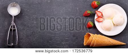 Plate Of Ice Cream Scoops With Fresh Strawberry