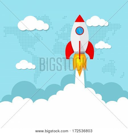Launch space rocket as a concept start-up business. Vector illustration. Startup of the space rocket in flat design.