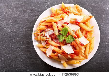 Plate Of Penne Pasta With Tomato Sauce And Parmesan