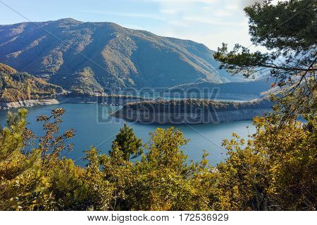 Amazing ladscape with  forest around Vacha (Antonivanovtsy) Reservoir, Rhodopes Mountain, Bulgaria