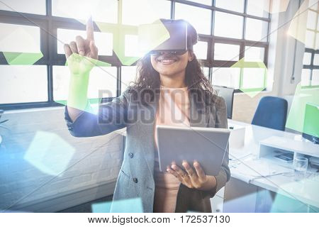 Digitally generated grey cubes floating against business executive holding digital tablet while using virtual reality headset 3d