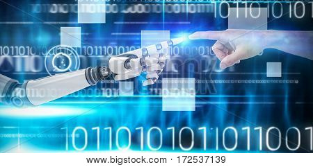 Hand of man pretending to touch an invisible screen against blue technology design with binary code