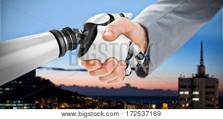 Digital composite image of robot and businessman shaking hands against illuminated buildings in city against sky 3d