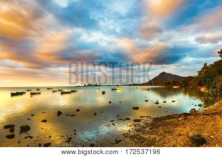 Boats at sunset time. Mauritius