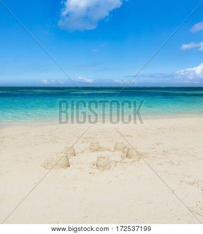 Sandy tropical Wolmar beach at sunny day.  Mauritius