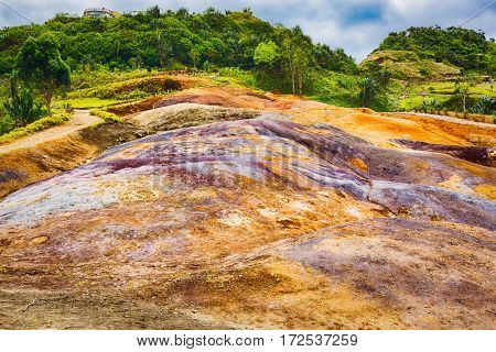 View of the coloured earth. Mauritius.