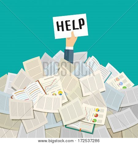 Concept of hard working. Businessman buried under a pile of books, textbooks and papers. Flat design, vector illustration.