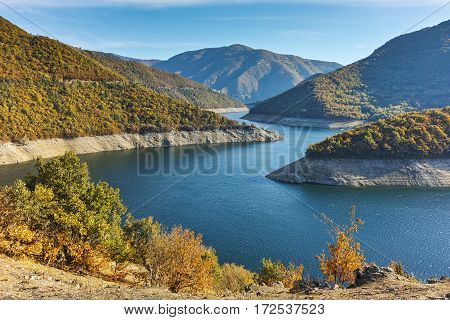 Autumn  view of Meander of Vacha (Antonivanovtsy) Reservoir, Rhodopes Mountain, Bulgaria