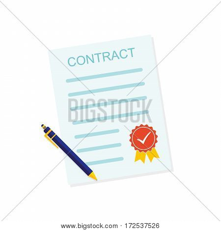 Colored contract icon. Vector illustration. Business contract symbol with ball pen and sealed isolated on white background.