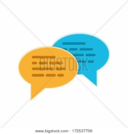 Speech bubbles icons on a white background. Vector illustration. Yellow and blue chat bubble signs isolated.