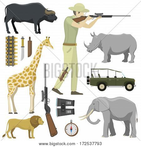 Cartoon hunter aiming rifle africa shotgun with compass, rifle, binoculars and jeep car and explorer pursuit hunting sport target icons vector illustration. Activity aim character adventure tourism.
