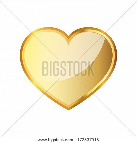 Golden heart icon. Vector illustration. Golden heart symbol on white background.