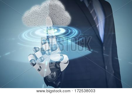 Composite image of cloud against interface of blue volume dial