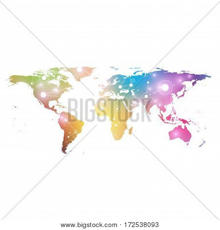 World map with global technology networking concept. Digital data visualization. Lines plexus. Big Data background communication. Scientific vector illustration telecommunication