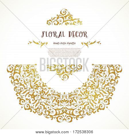 Vector Set Of Golden Elements In Eastern Style.