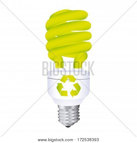 color silhouette with spiral fluorescent lamp with recycling symbol vector illustration