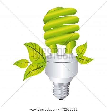 color silhouette with spiral fluorescent lamp and leaves vector illustration