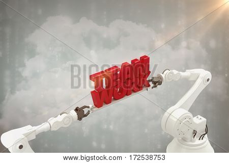 Robotic hand holding team work message against white background against digitally generated black and blue matrix