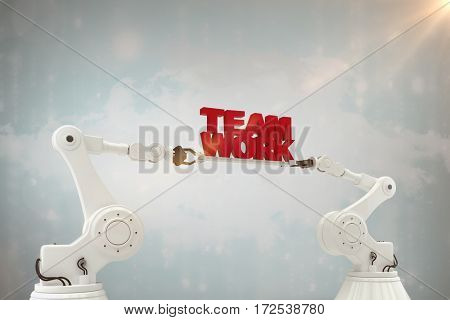 Mechanical hands holding red team work message on white background against digitally generated black and blue matrix