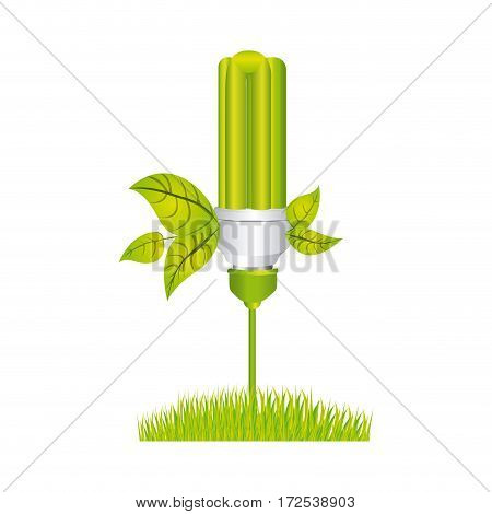 color silhouette with fluorescent lamp with leaves and grass vector illustration