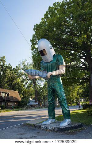 Wilmington Illinois USA - July 5 2014: The Gemini Giant statue in the US Route 66 in Wilmington Illinois USA