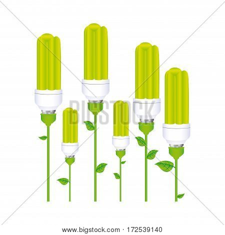 color background with set of fluorescent lamp with stem and leaves vector illustration