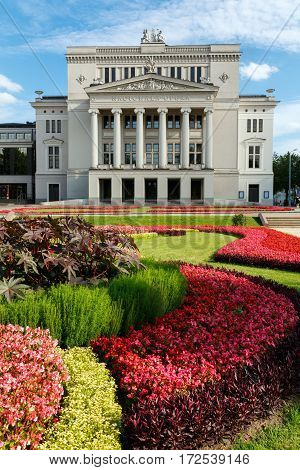 RIGA/ LATVIA - JULY 25, 2015: Latvian National Opera in summer. Riga Latvia.