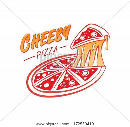 cheesy pizza logo with chewy pizza greasy cheese